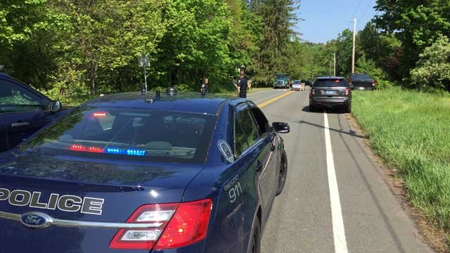 A person was struck by a vehicle on Granville Road in Granby, police said. (WFSB photo)