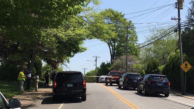 South Broad Street closed after motor vehicle crash. (WFSB)