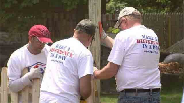 On Thursday, dozens of volunteers headed to a home in Bristol to help out a local veteran. (WFSB)