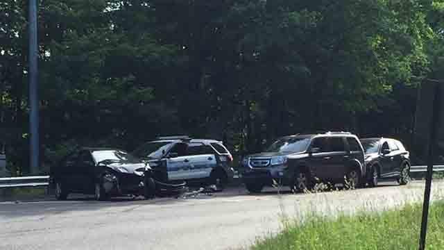 A Naugatuck police cruiser was involved in a crash on Sunday (Naugatuck Police Dept.)