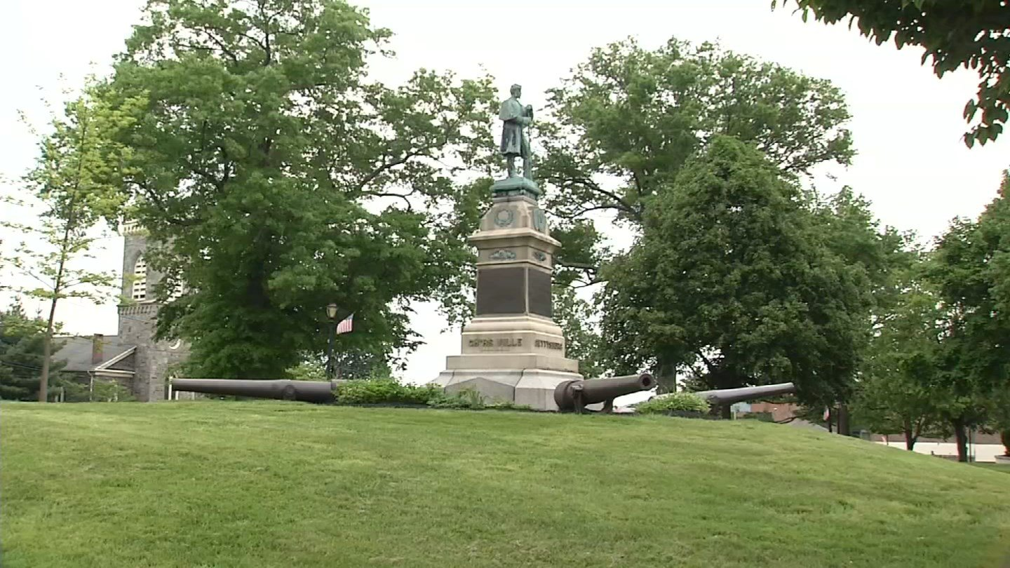 Vandals and the weather have taken their toll on a Civil War monument in Derby. (WFSB photo)