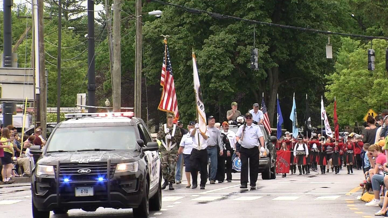 The Torrington Memorial Day parade stepped off despite the rain. (WFSB photo)