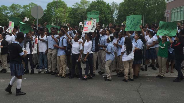 Students at the Achievement First Amistad High School held an anti-racism rally on Tuesday. (WFSB photo)