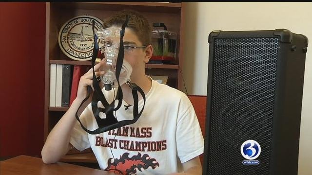"Lucca Riccio, an eighth grader at Joseph DePaolo Middle School, won the ""Most Marketable Product"" award. (WFSB)"