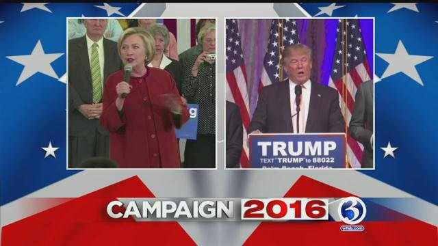 Quinnipiac University poll of likely presidential candidates shows Hillary Clinton with a slight lead over Donald Trump. (WFSB)
