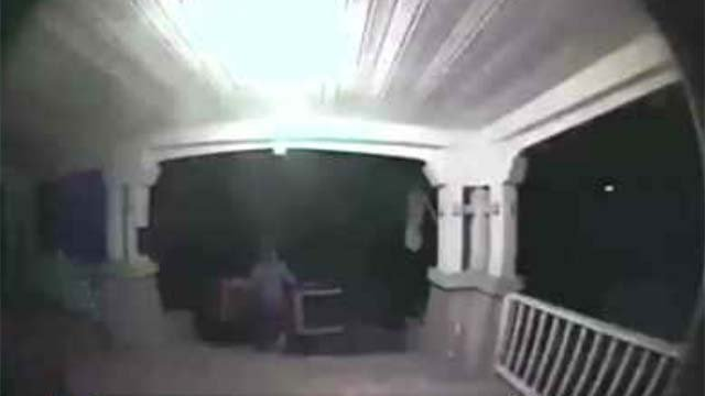 A surveillance camera caught the thief stealing porch furniture in Plainville (Laura Stilwell)