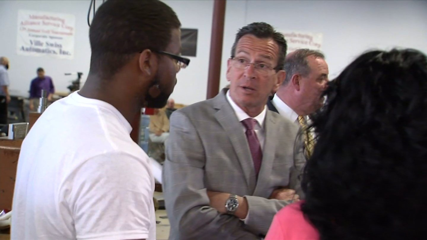 Gov. Dannel Malloy visits a Waterbury training center as part of his push for his second chance bill. (WFSB photo)