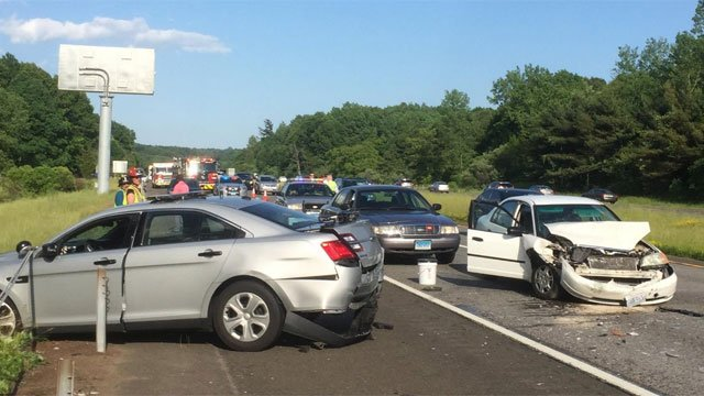 A state trooper received serious injuries during a crash on I-691 west in Cheshire Monday. (CT State Police)