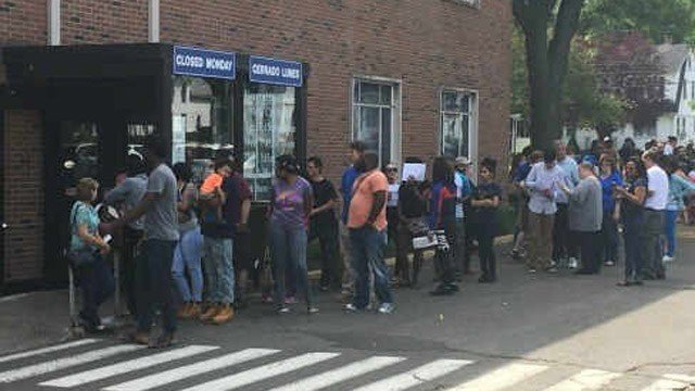 The line at the Wethersfield DMV on June 4. (WFSB photo)