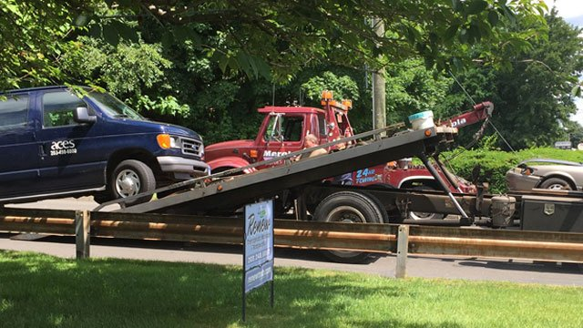 A van from Area Cooperative Educational Services was involved in the crash. (WFSB)