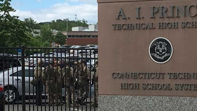 An unconfirmed threat put Prince Tech in Hartford in lockdown Thursday morning. (WFSB photo)