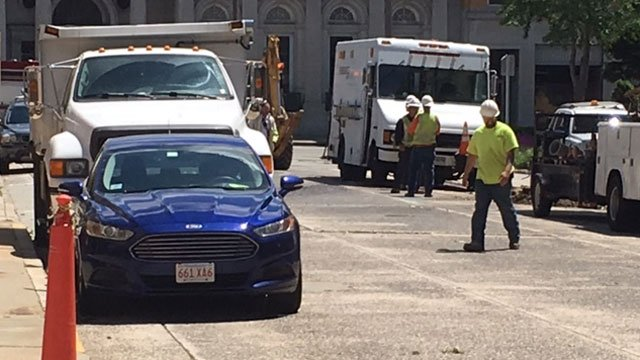 Leak reported in the area of Masonic Street and Eugene O'Neill Drive in New London.  (WFSB)