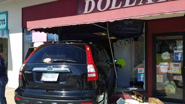 A car crashed into a dollar store in Niantic on Thursday. (East Lyme Fire Marshal)