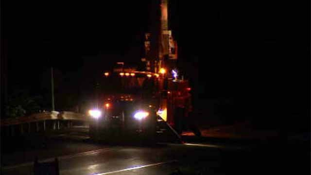 Crews were seen repairing downed wires on Route 66 Thursday night. (WFSB)