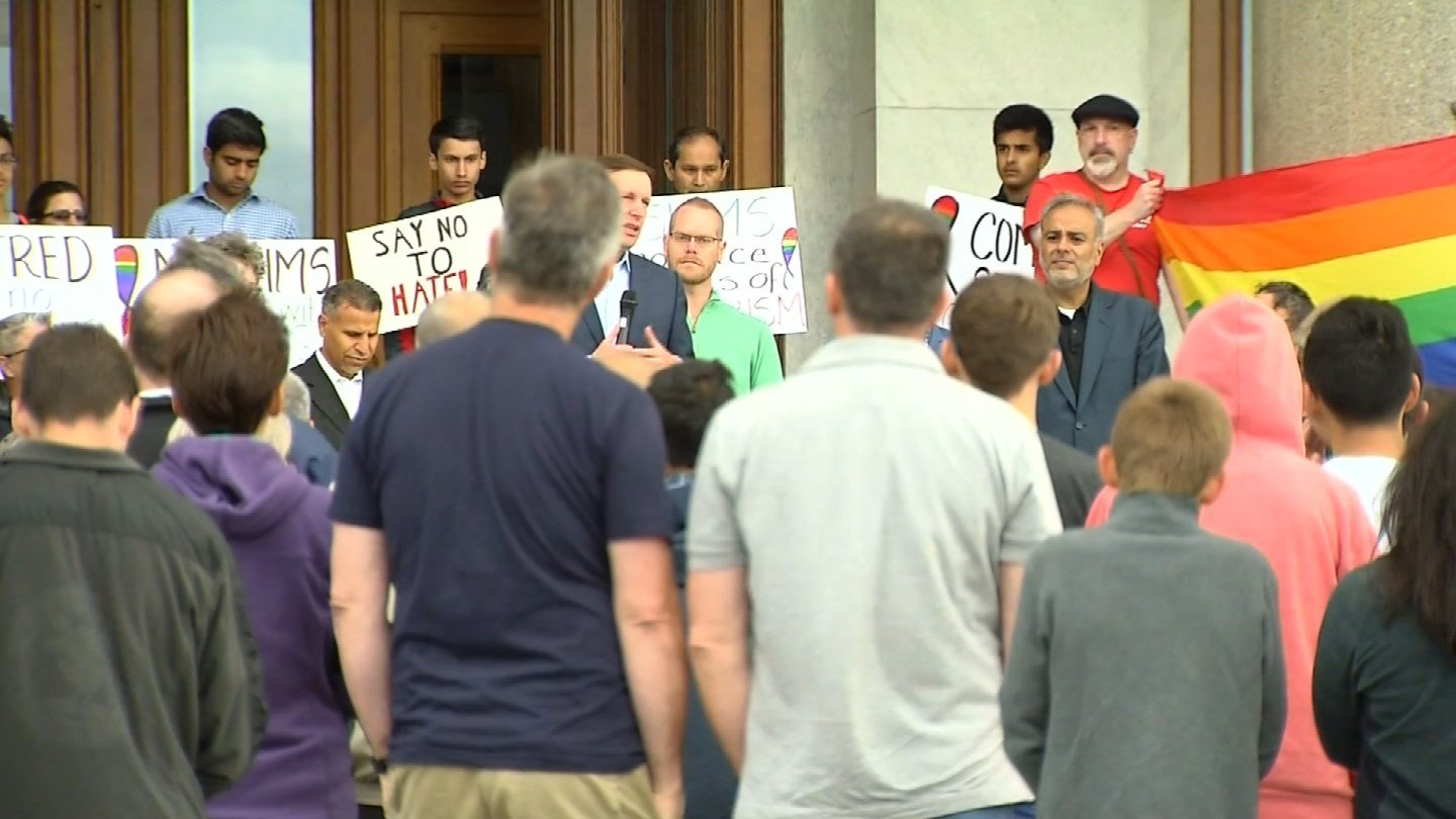 A gathering of LGBT, Muslim and local leaders took place at the State Capitol on Sunday. (WFSB photo)