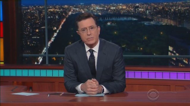 Stephen Colbert gave an emotional opening monologue on Monday night. (CBS photo)