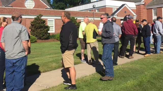 Dozens of people protested the under-construction Niagara Bottling Plant in Bloomfield Tuesday. (WFSB photo)