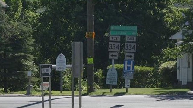 A two-vehicle crash closed a Route 8 off ramp in Ansonia on Tuesday. (WFSB)