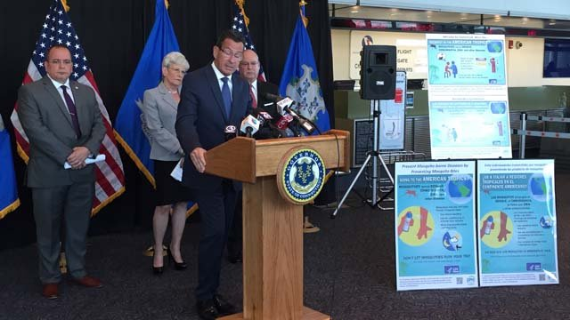 Gov. Dannel Malloy outlines a plan to inform travelers of Zika dangers. (WFSB photo)