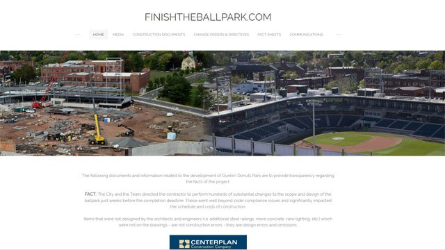 A website was launched on Friday on Dunkin Donuts Park by former project developer Centerplan. (http://www.finishtheballpark.com/)