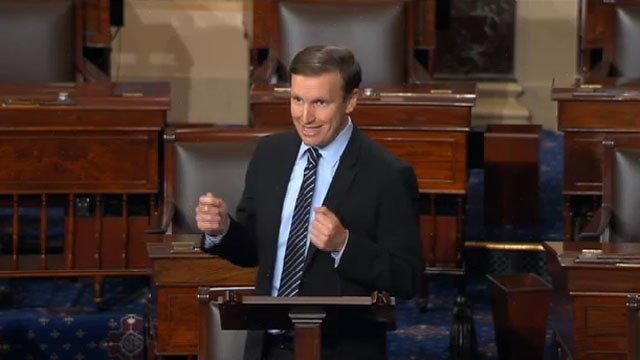 Chris Murphy at the Senate hearing on Monday. (CBS Newspath)