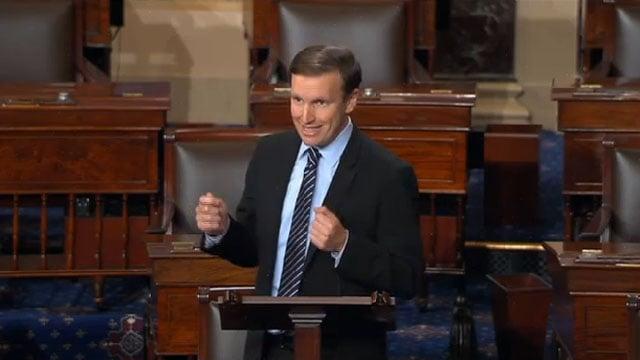 Chris Murphy at the Senate hearing on Monday. (CBS Newspath)