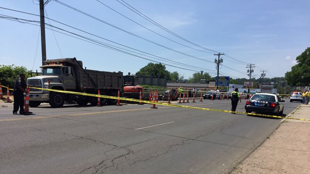 A man was killed after being hit by a backhoe in West Haven Tuesday. (WFSB photo)