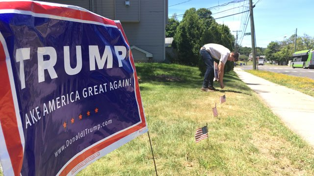 Trump supporter Kristopher Salls said his signs have been stolen from his front yard in Bristol. (WFSB)