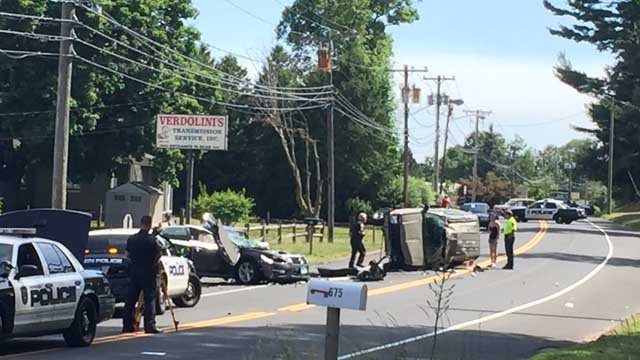 At least two people were injured in a crash in Meriden on Tuesday afternoon. (WFSB)