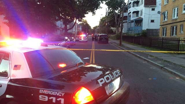 Hartford police responded to a shooting on Enfield Street on Tuesday. (WFSB)