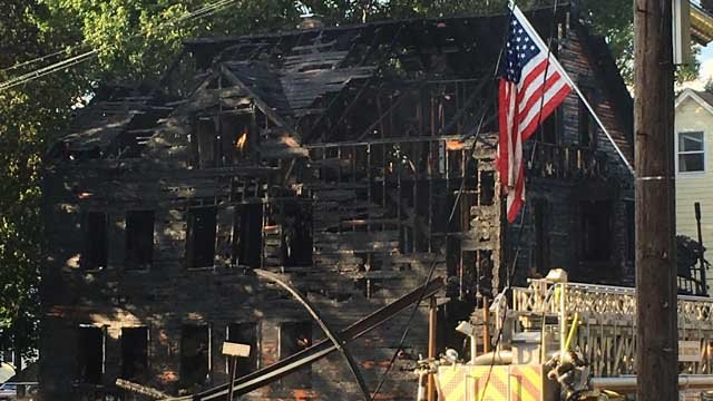 A vacant home was completely destroyed by Wednesday morning's fire in Moosup. (WFSB photo)