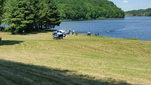 LIFE STAR called to Ragged Mountain after a cliff jumper was injured. (iwitness)