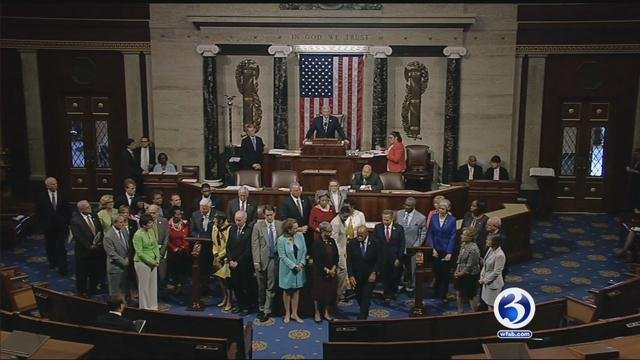 House Democrats stage sit-in into Thursday monring.