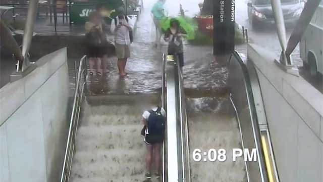 Water flooded a D.C. metro station on Wednesday. (CNN)
