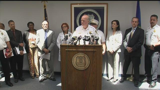 New Haven officials held a news conference Friday morning regarding more than a dozen tainted heroin overdoses in less than 24 hours. (WFSB photo)