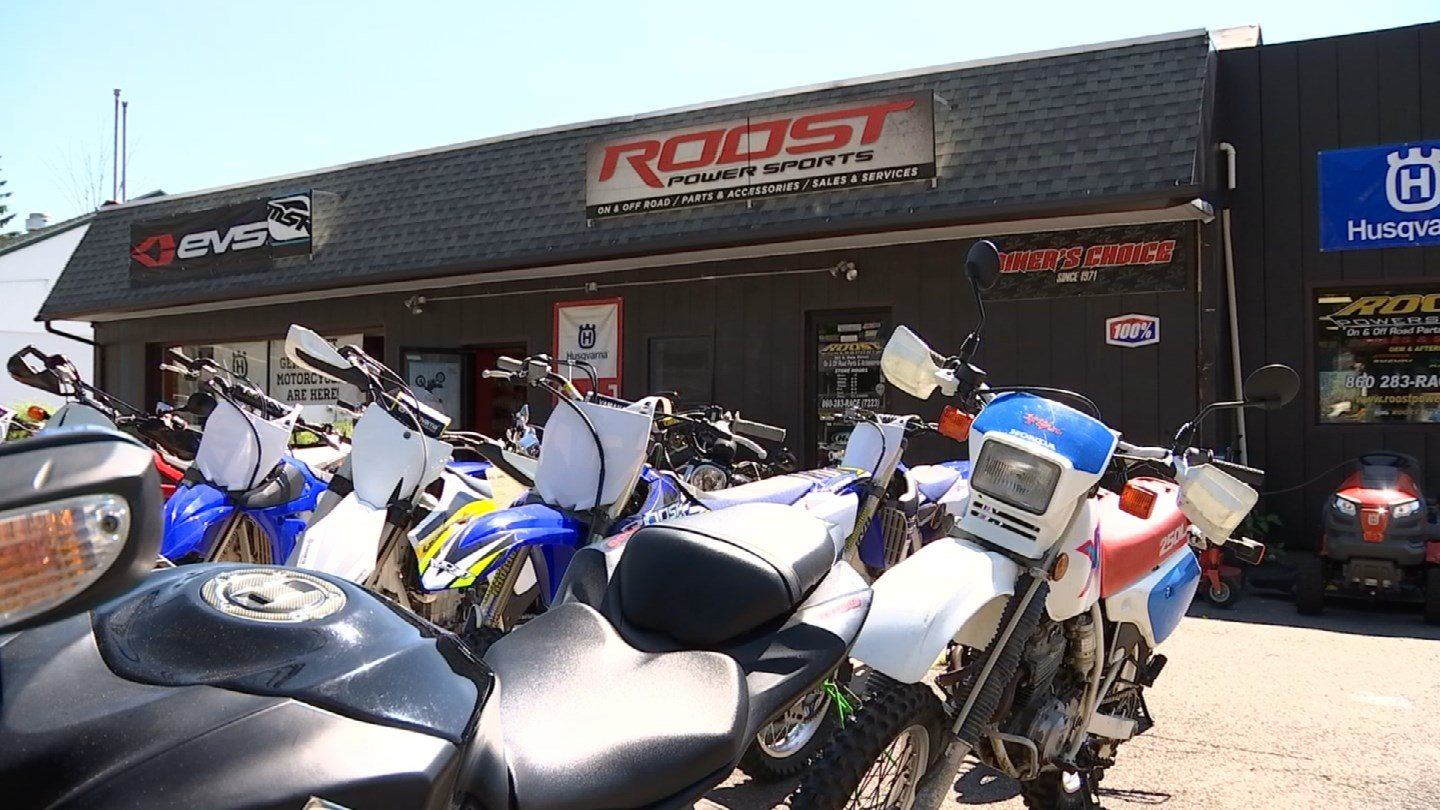 Six dirt bikes were stolen from a business in Thomaston overnight. (WFSB photo)
