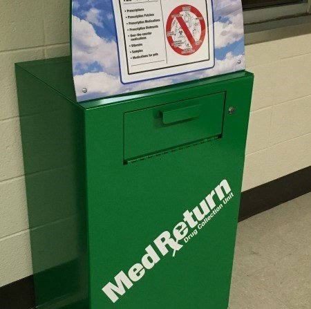 Drug drop-off box located inside the North Haven Police Department. (WFSB)