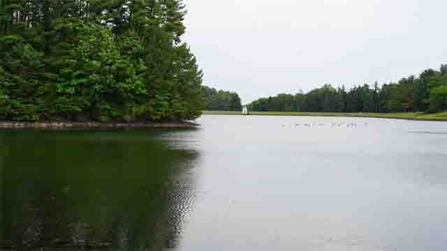 Looking over the West Hartford Reservoir on Monday after the state issued a drought advisory. (WFSB)