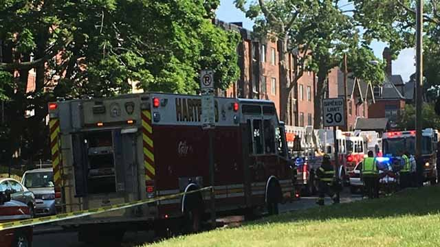 Nine families were forced out by flames at an apartment in Hartford Wednesday morning. (WFSB photo)