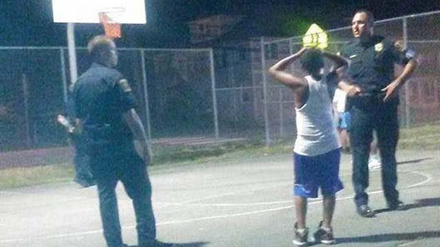 Some Norwich police officers picked up a game of basketball with some neighborhood kids. (submitted video)