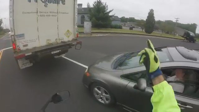 A motorcyclist in South Windsor record a driver cutting him off at a merge. (YouTube photo)