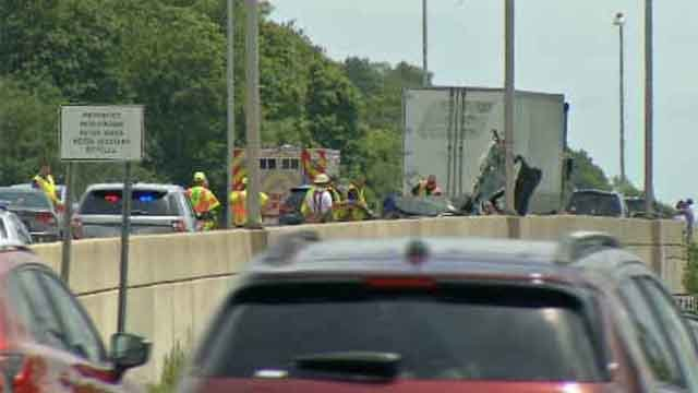 One person was killed in a crash on I-95 in East Haven on Saturday. (WFSB)