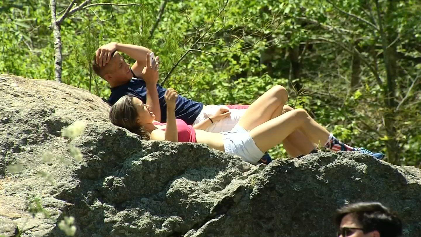 Parkgoers were enjoying Devil's Hopyard in East Haddam on Monday. The park closes on Tuesday. (WFSB)