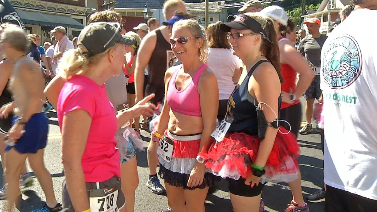 Hundreds including some in tutus turned out for the road race in Chester. (WFSB)