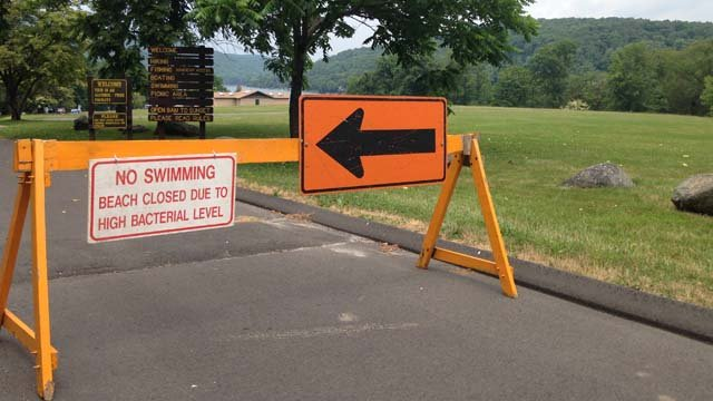 Squantz Pond's beach was closed Wednesday due to bacteria levels. (WFSB FILE)