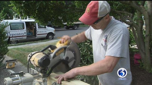 People working outside on Thursday were told to drink tons of water. (WFSB)