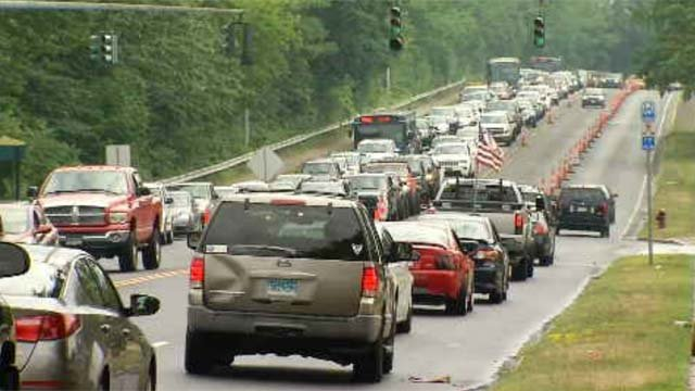 Traffic lined up Thursday afternoon ahead of the Florida Georgia Line concert. (WFSB)
