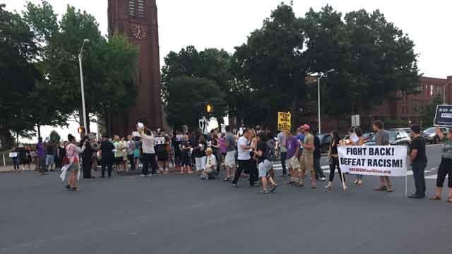 Hartford protesters block Main Street during a Black Lives Matter rally Thursday evening. (WFSB)