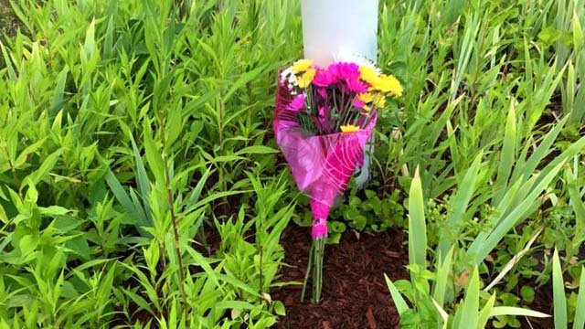 Police said someone left flowers for them following the shooting in Dallas. (Naugatuck police photo)