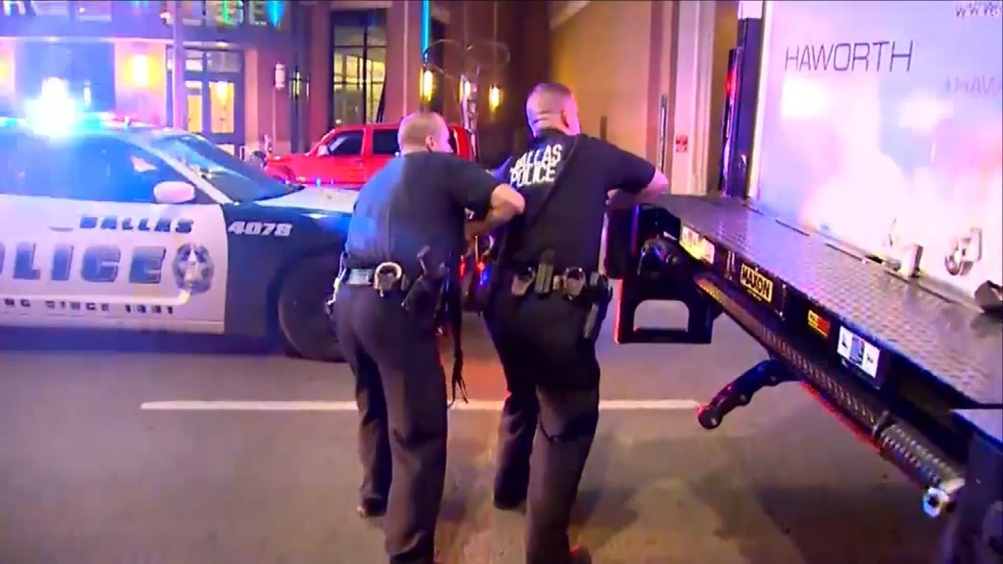 The scene in Dallas where five officers were killed Thursday night. (CBS photo)